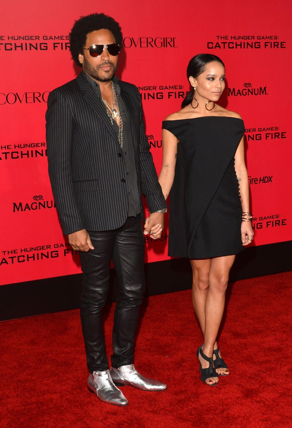 Lenny Kravitz And His Daughter Zoe At The Premiere Of The Hunger