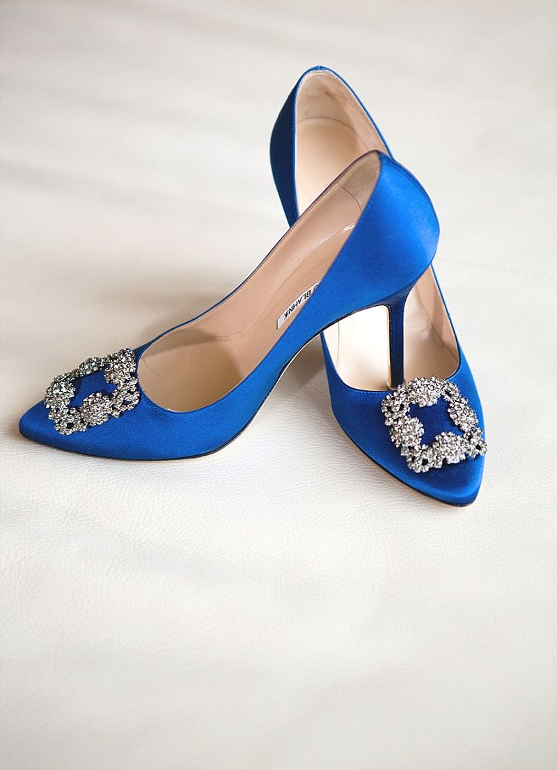 Something blue these manolo blahnik shoes added a surprising touch