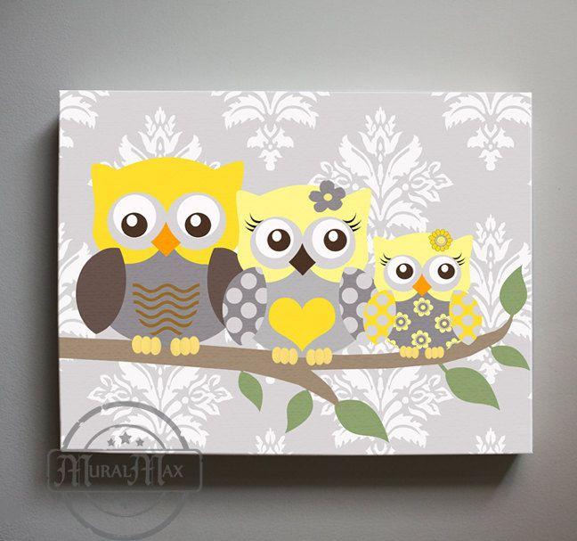 Yellow and Gray Owl Nursery Decor Girls wall art - Owl canvas art ...