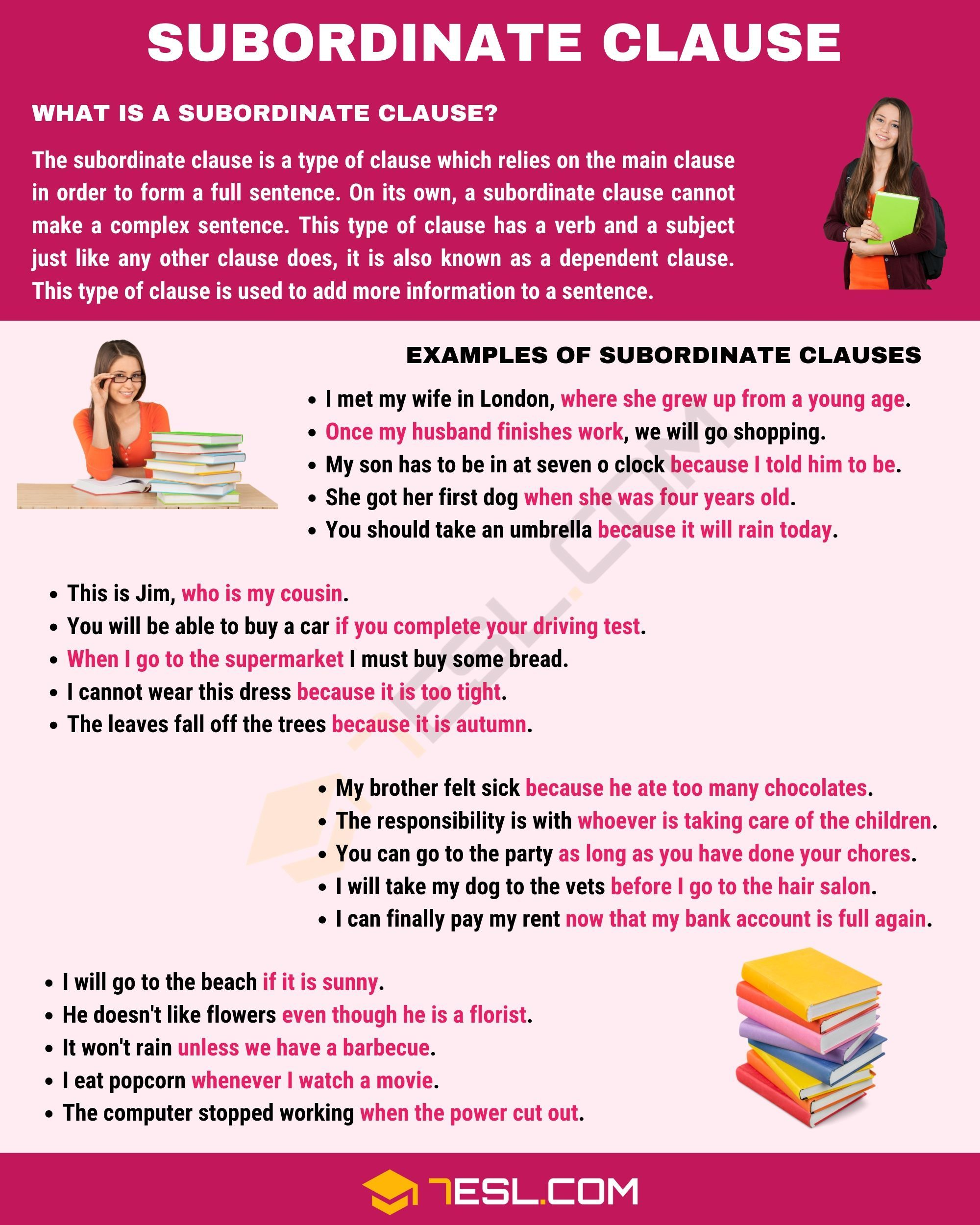 Subordinate Clause Examples And Definition Of Subordinate