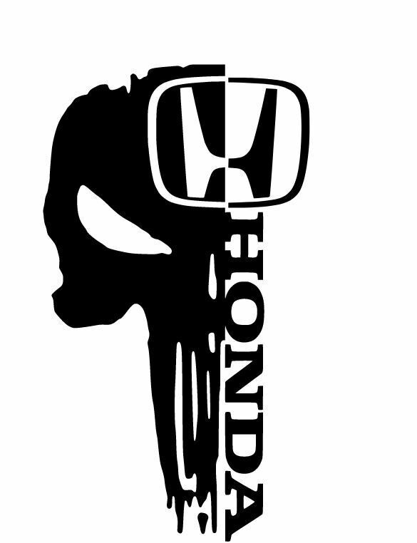 2x Honda Skull Sticker Vinyl Decal For Car And Others Finish