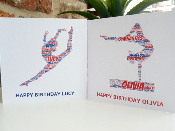 Personalised Gymnast Card Personalised Birthday Card Etsy Personalized Birthday Cards Personal Cards Birthday Cards