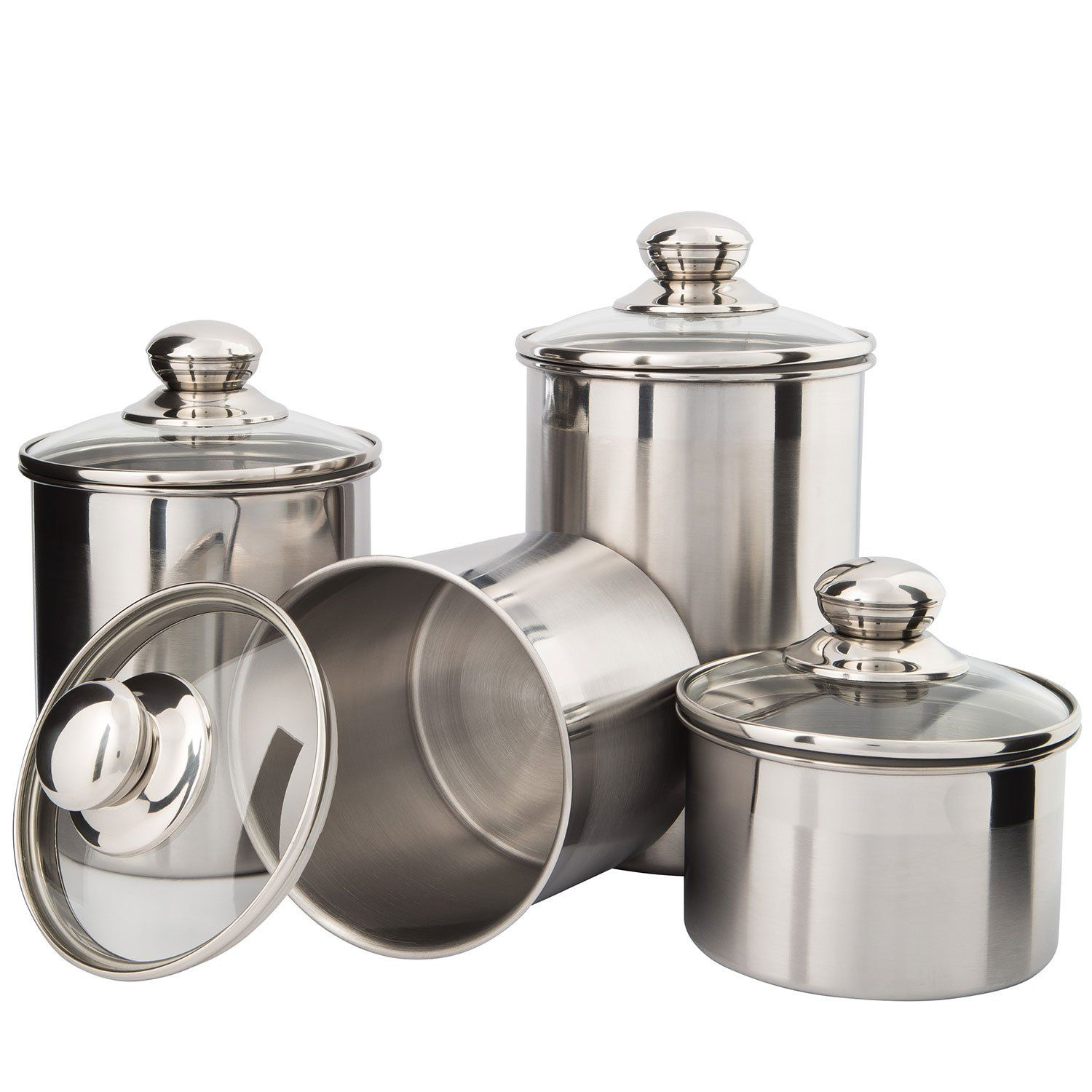 Canister Set Stainless Steel Beautiful Canisters For Kitchen Counter