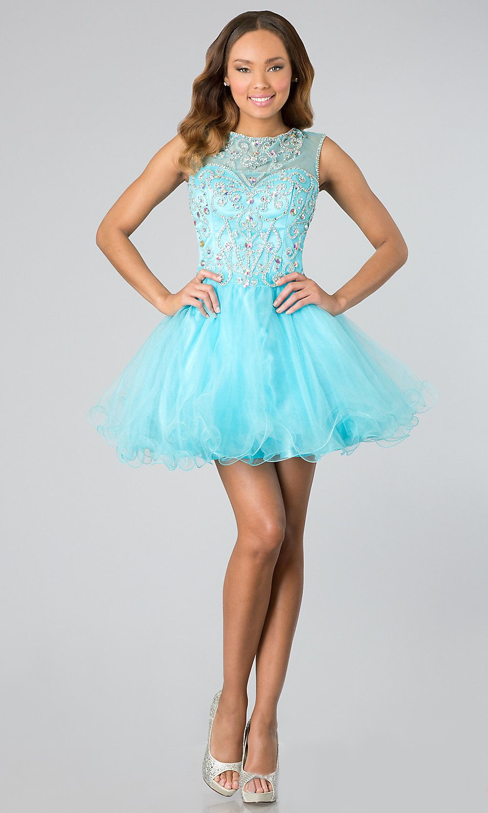 Short Mesh Baby Blue Homecoming Dress Illusion Neckline Poofy Skirt ...