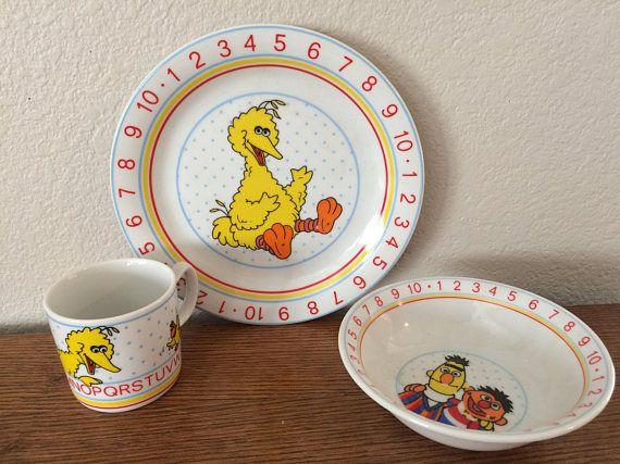 VTG Big Bird u0026 Bert and Ernie Plate Cup Bowl Set Sesame Street & VTG Big Bird u0026 Bert and Ernie Plate Cup Bowl Set Sesame Street ...