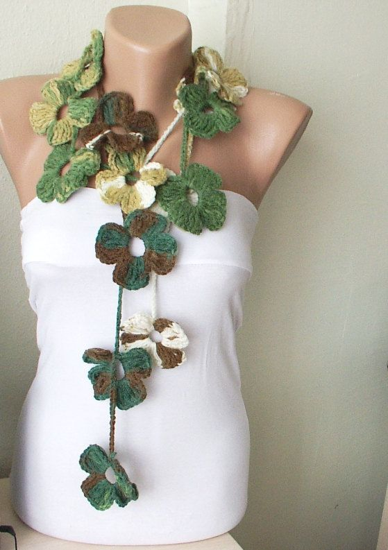 Handmade Crochet Green  Tones with brown and cream Color by Periay, $25.00