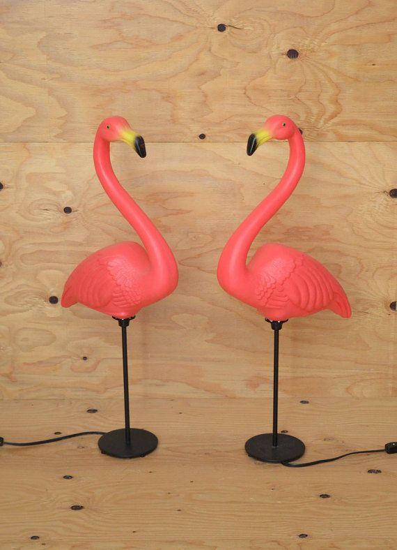 Set Of 2 Light Up Flamingo Lamps Black Base Great by ThatchVintage, $36.00
