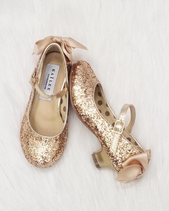 c775ccff635 Girls Glitter Heels - Allover GOLD Glitter Maryjane Heels With Satin Bow