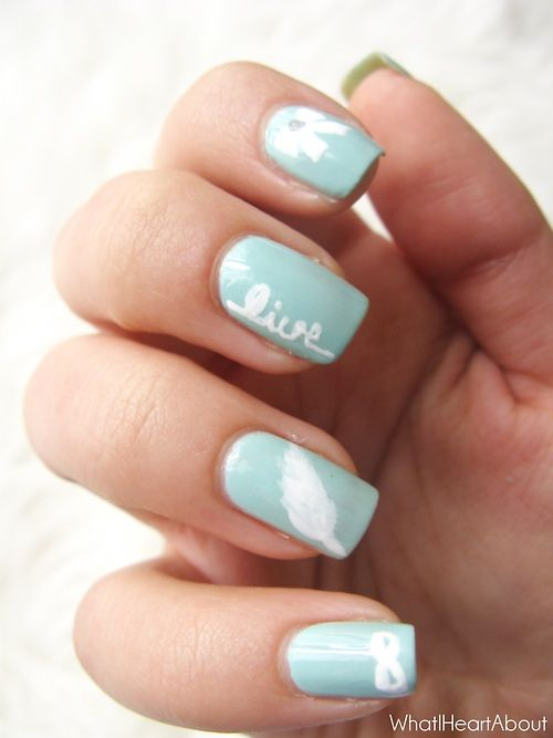 Sweet And Inspiring Nail Art Infinity Feather Live And Bow