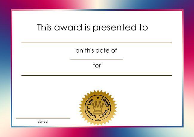 student award printable