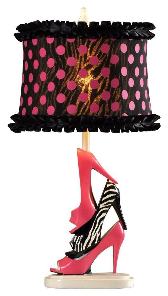 Style Craft High Heel Table Lamp. Metal Base With Pink And Zebra Print  Stilettos.