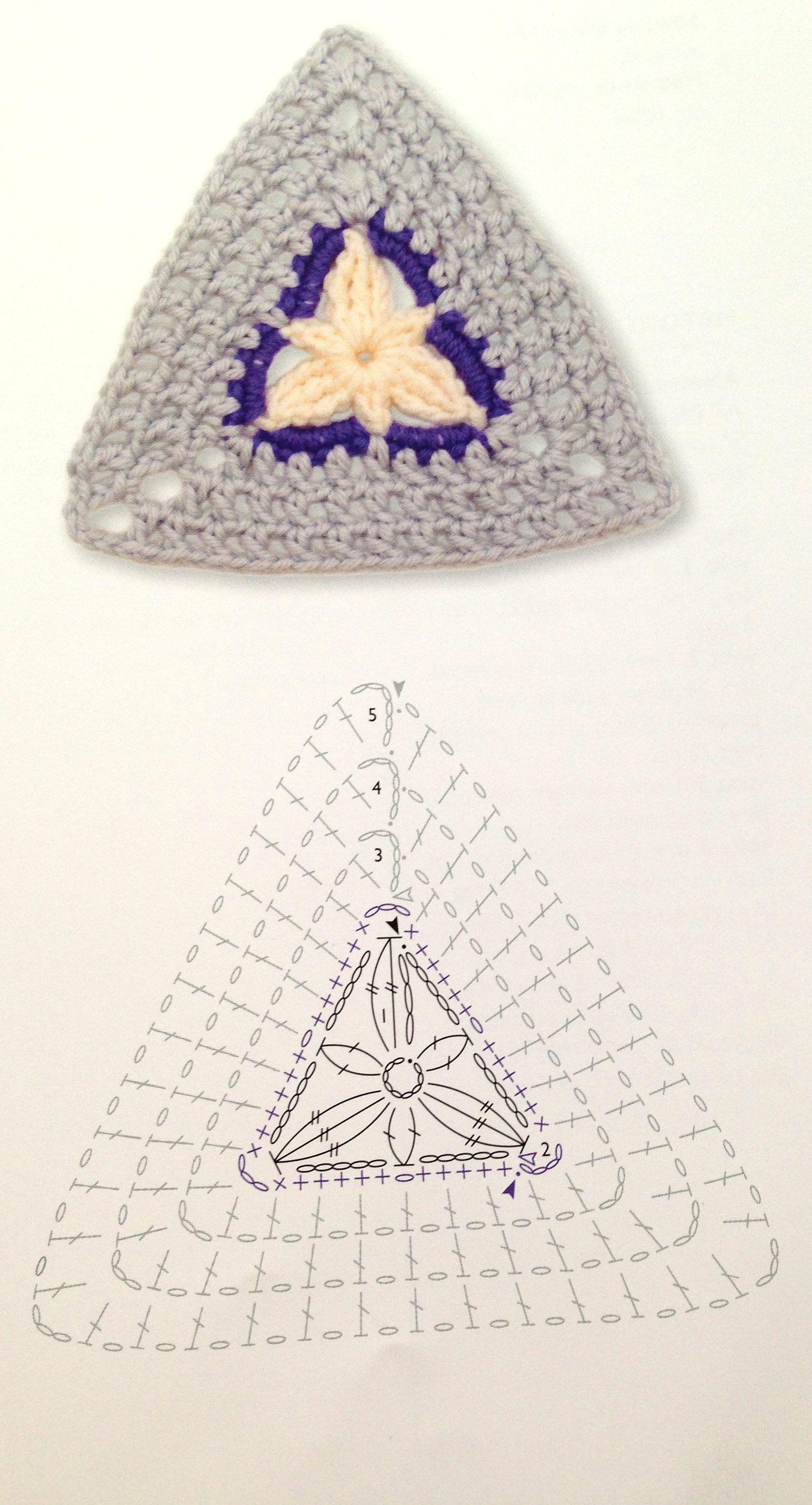 crochet granny square diagram 1995 dodge ram 2500 wiring triangle flower pattern pinterest
