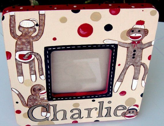 Funky Sock Monkey Custom Painted Picture Frame Design Options On