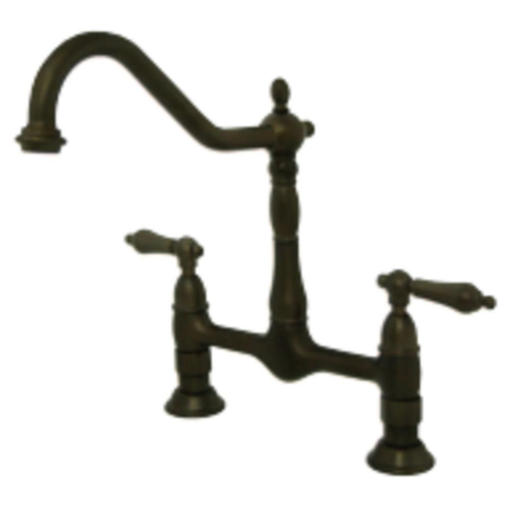 Kingston Brass Heritage 2 Handle Bridge Kitchen Faucet With Lever