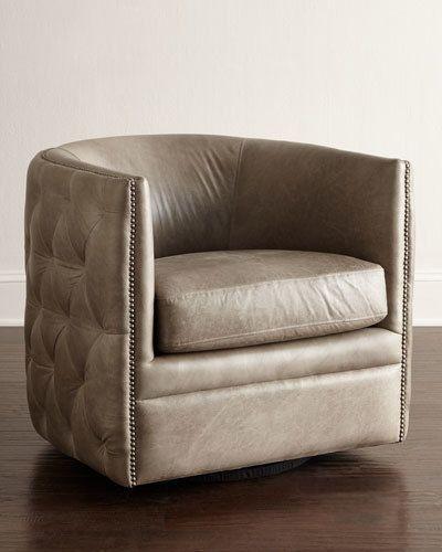 Bernhardt Abriola Leather Swivel Chair