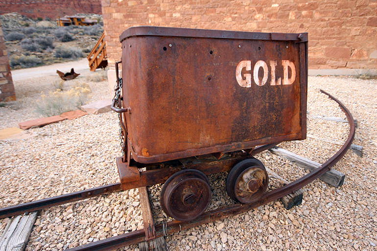 rusted gold mining cart, Abandoned, Silver Reef Ghost Town, Utah, UT