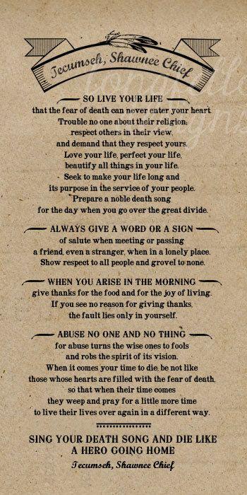 Poem By Tecumseh American Shawnee Chief Kraft Look Print