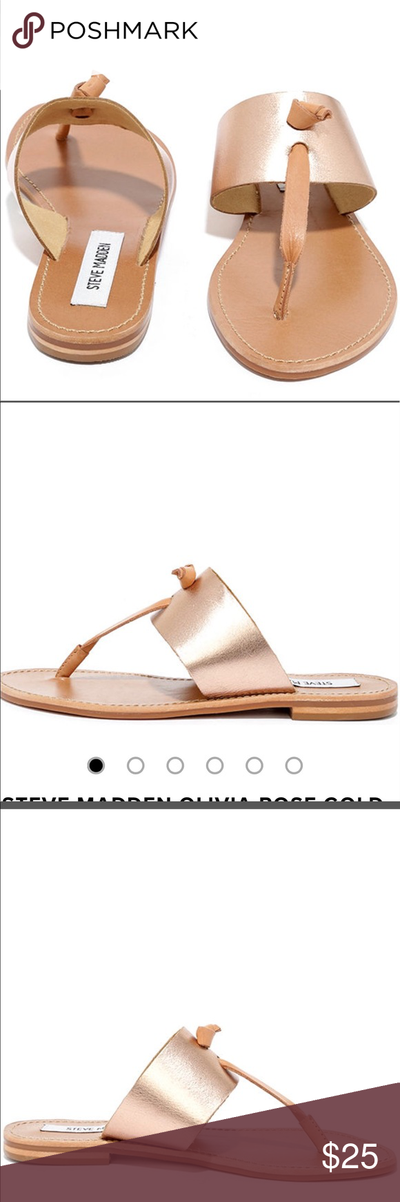 17aa9d3f5cf4 Steve Madden Women s Gold Sandals Steve Maddens Women s Olivia Rose Hold  Sandals. Never worn. Still in Box. Leather thong strap knotted accent and  nonskid ...