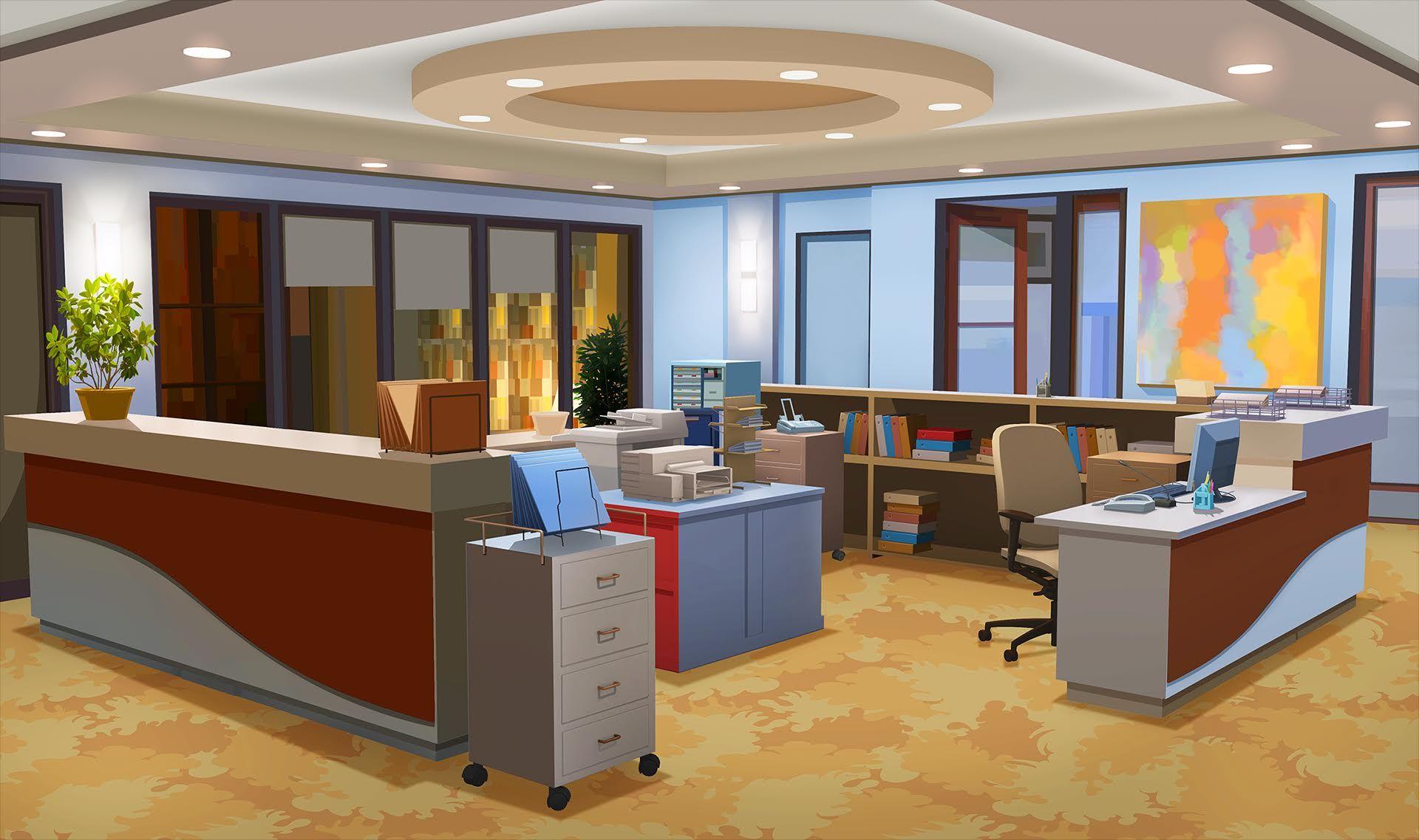Int Office Corner Day Cenario Anime Cenario Para Videos