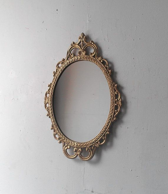 Ornate Oval Mirror In Vintage Metal Frame 17 X 12 Inch Handpainted Metal In Traditional Gold On Etsy 51 49 Gold Mirror Wall Mirror Wall Art Mirror Wall