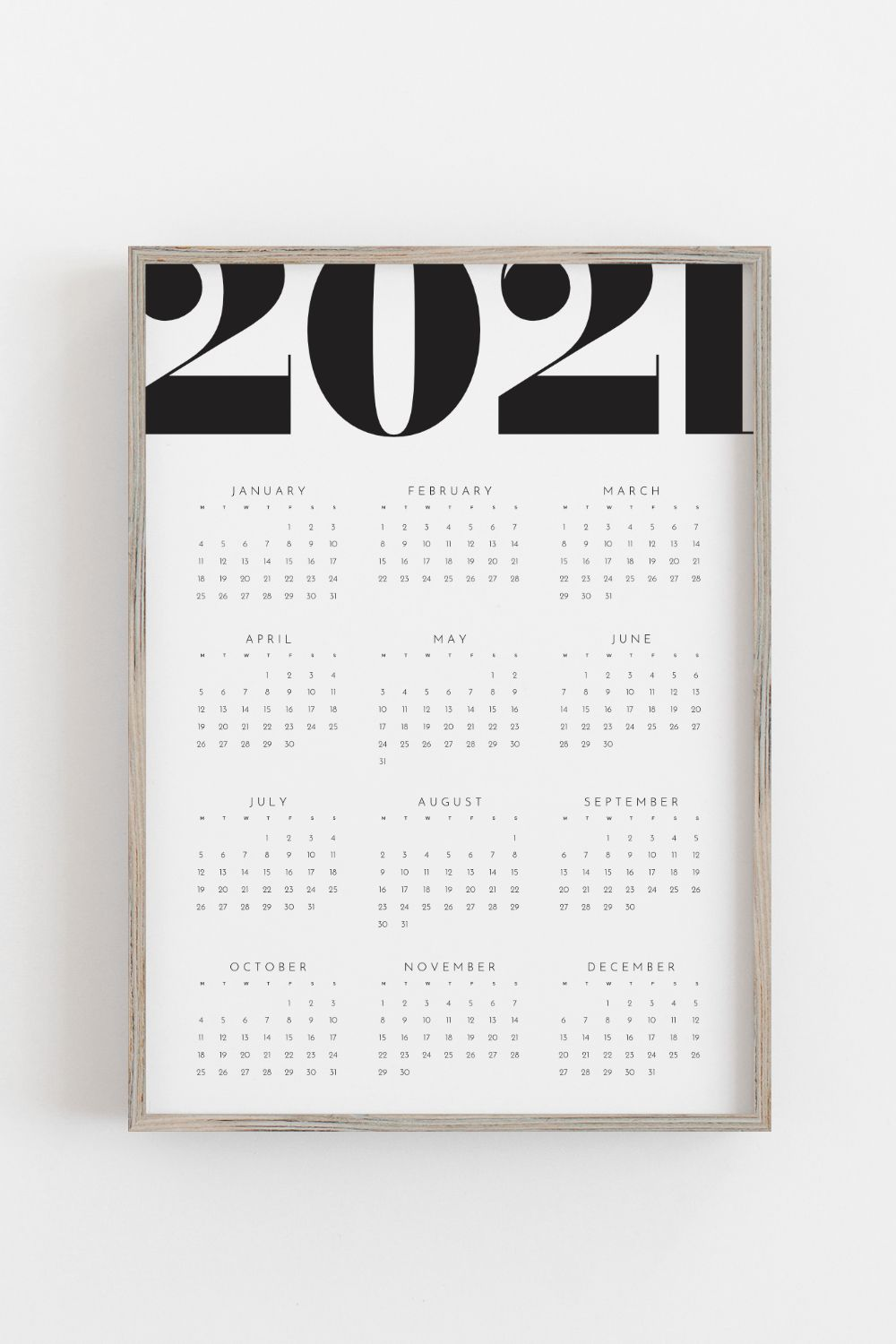 Printable Calendar 2021 Yearly Wall Calendar Year At A Glance Instant Download Black And White A1 Portrait Minimalist Design In 2021 Printable Calendar Template Printable Calendar Calendar Template