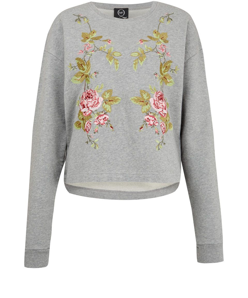 McQ Alexander McQueen Grey Floral Embroidered Sweatshirt | Women's Sweatshirts  by McQ Alexander McQueen | Liberty
