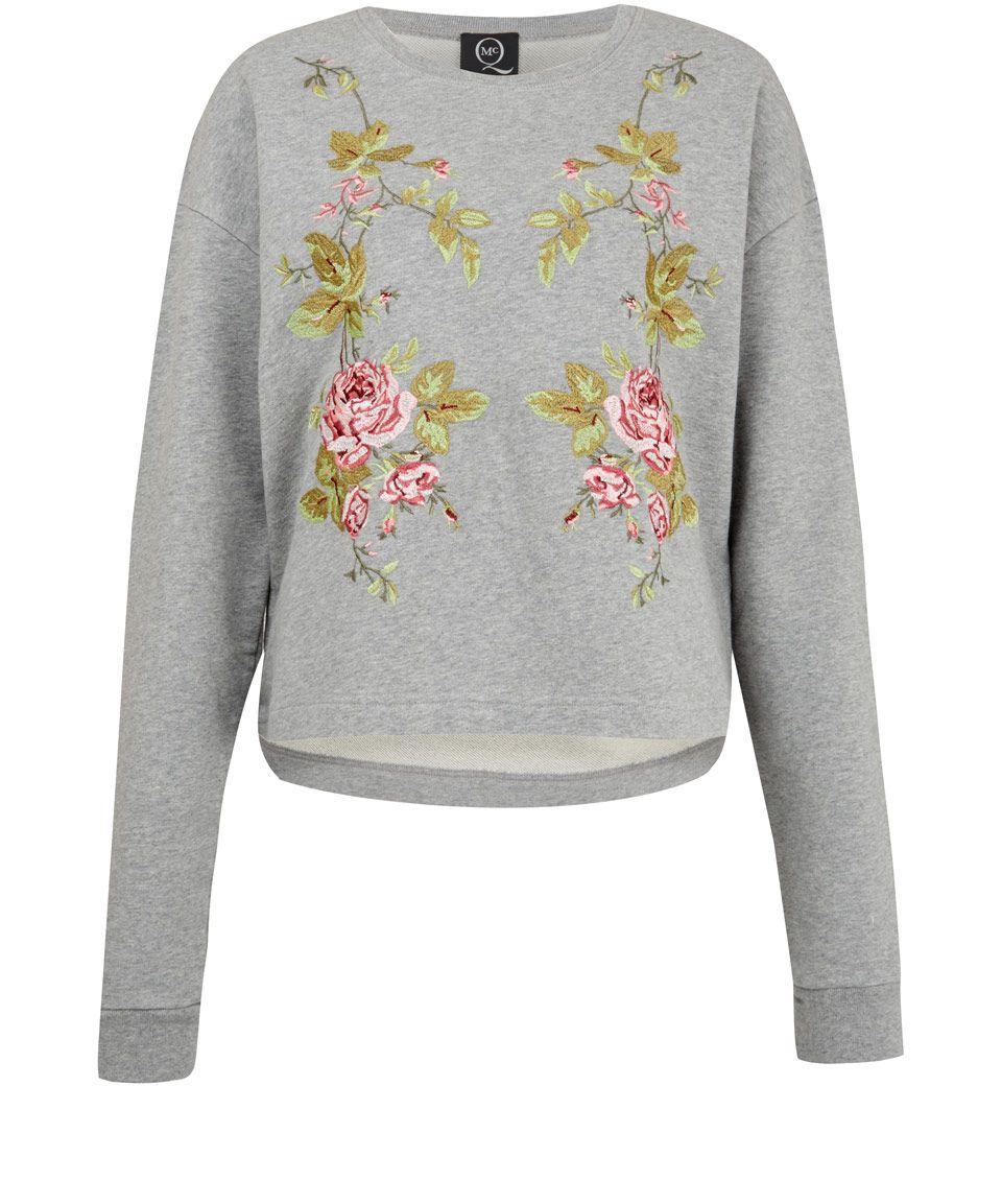 Mcq alexander mcqueen grey floral embroidered sweatshirt