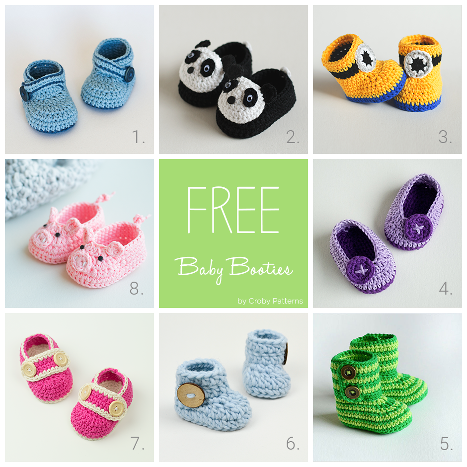 Croby Patterns | 8 Free Crochet Baby Booties Patterns | baby ...