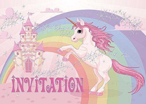 """Edition Colibri 10 """"Licorne Invitations Anniversaire Fille: Lot DE 10 Cartes d'invitatio ..."""