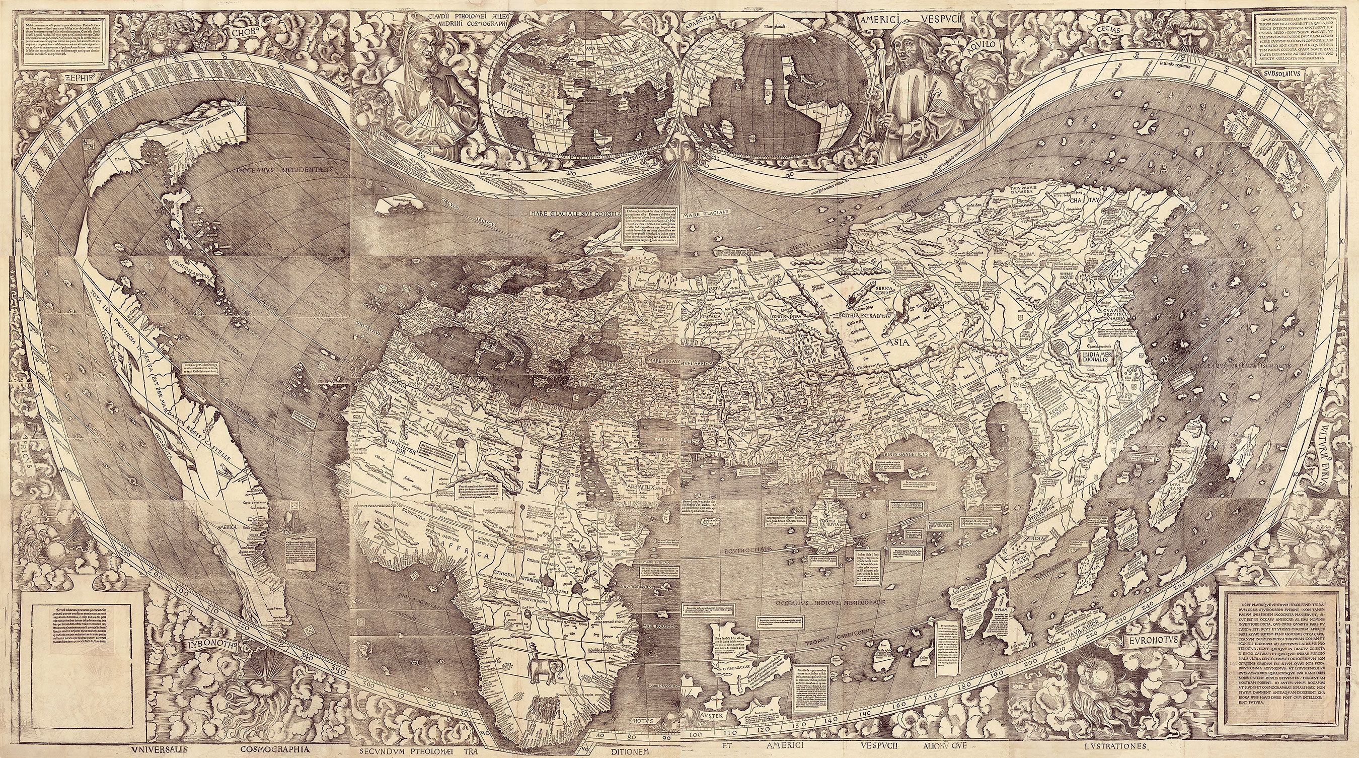Waldseemüller Map, first map of the Americas (April 1507 CE)