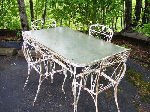 Vintage Wrought Iron Table & 4 Chairs Patio / Garden Set with . - Vintage Wrought Iron Table & 4 Chairs Patio / Garden Set With