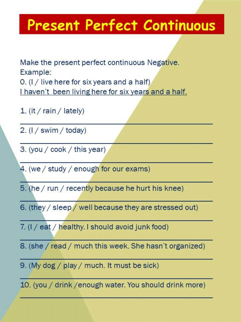 Present perfect continuous interactive and downloadable