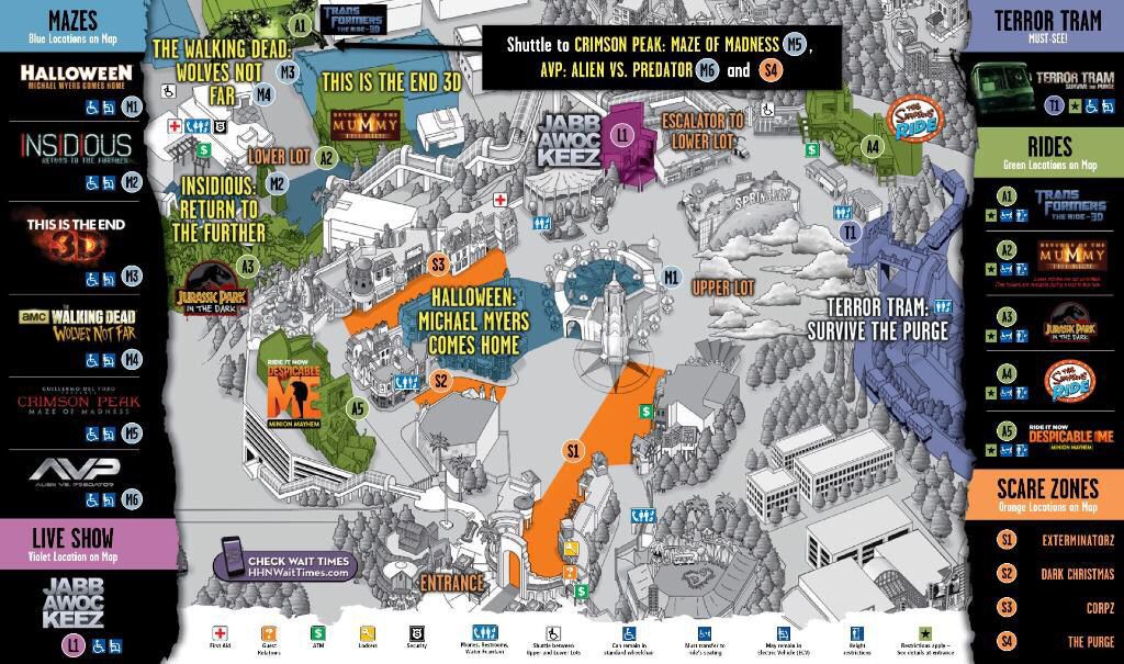 Map For 2015 Halloween Horror Nights At Universal Studios In