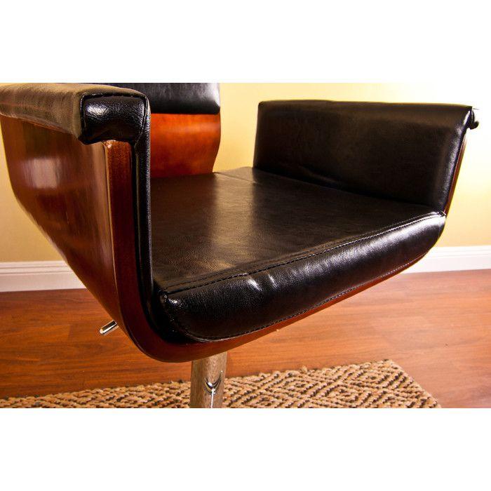 AC Pacific Adjustable Swivel Arm Bar Stool With Cushion U0026 Reviews | Wayfair