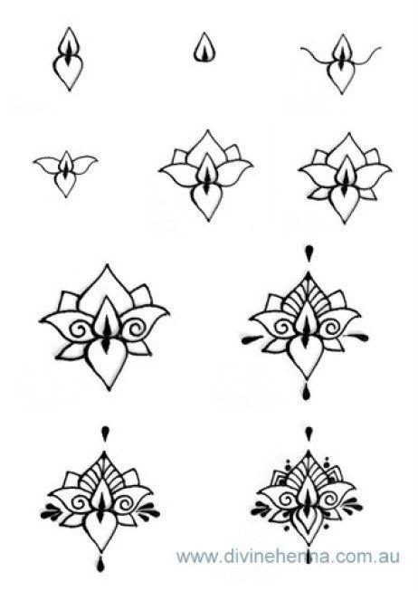 Lotus Henna Design Step By Step Beginner Henna Designs Henna Drawings Henna Designs Easy