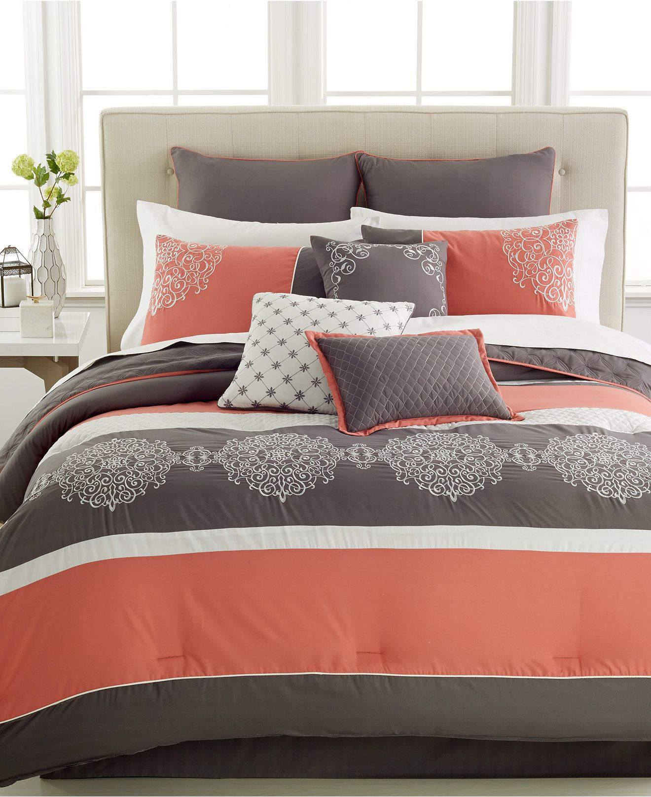 Closeout Parson 10 Pc Comforter Sets Reviews Bed In A Bag Bed Bath Macy S Coral And Grey Bedding Comforter Sets King Comforter Sets