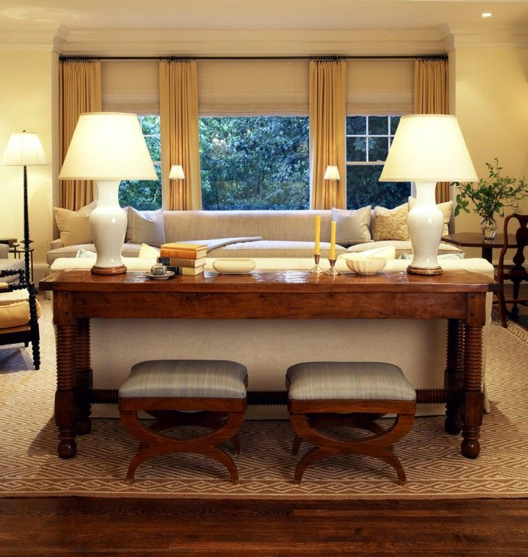Sofa Table With Ottomans Could Use As Laptop Desk While Watching Tv Timeless Living Room Sofa Table Decor Traditional Family Rooms