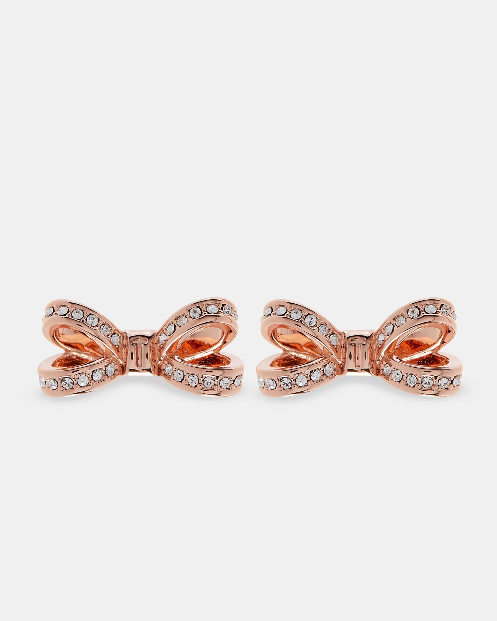 Ted Baker Swarovski Crystal Bow Earrings Rose Gold
