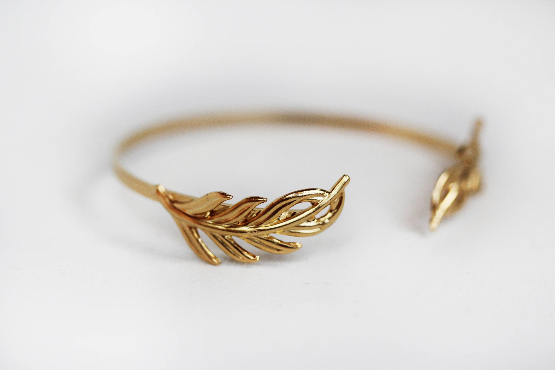 Rounded Twig Bracelet, Gold Leaf Wrap Bracelet, Bridal Jewelry
