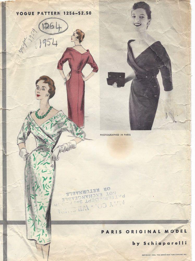 1954 Vintage VOGUE Sewing Pattern DRESS B30 (1264) By Schiaparelli ...