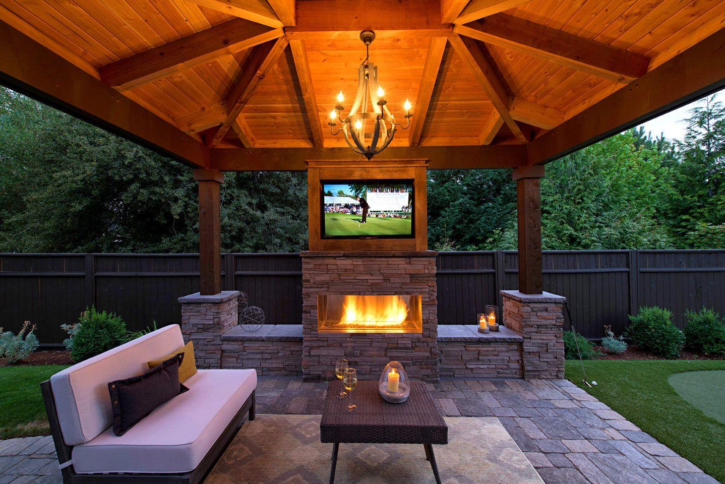 Small Backyard Gazebo in 2020   Backyard fireplace ... on Fireplace In Yard id=64505