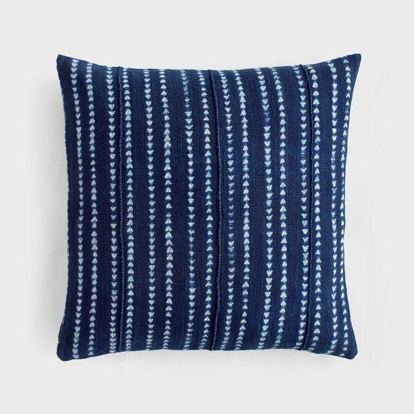 Indigo Arrow Stripe Cotton Pillow by Aboubakar Fofana