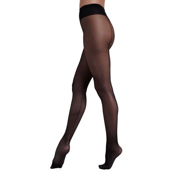 Wolford Individual 10 Back Seam Tights (78 CAD) ❤ liked on Polyvore featuring intimates, hosiery, tights, black, nylon hosiery, nylon stockings, nylon pantyhose, wolford tights and nylon tights