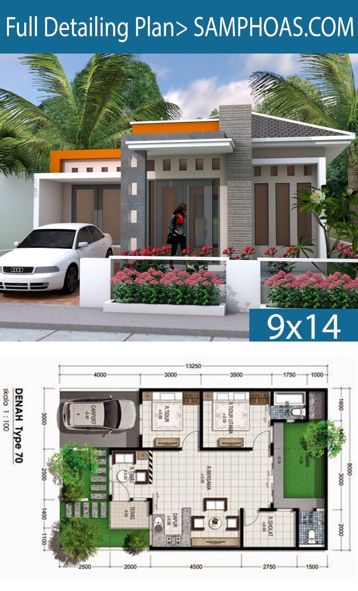 Sketchup 2 Bedrooms House 9x14m Samphoas Plansearch Di 2020 Rumah Indah Arsitektur Rumah Arsitektur