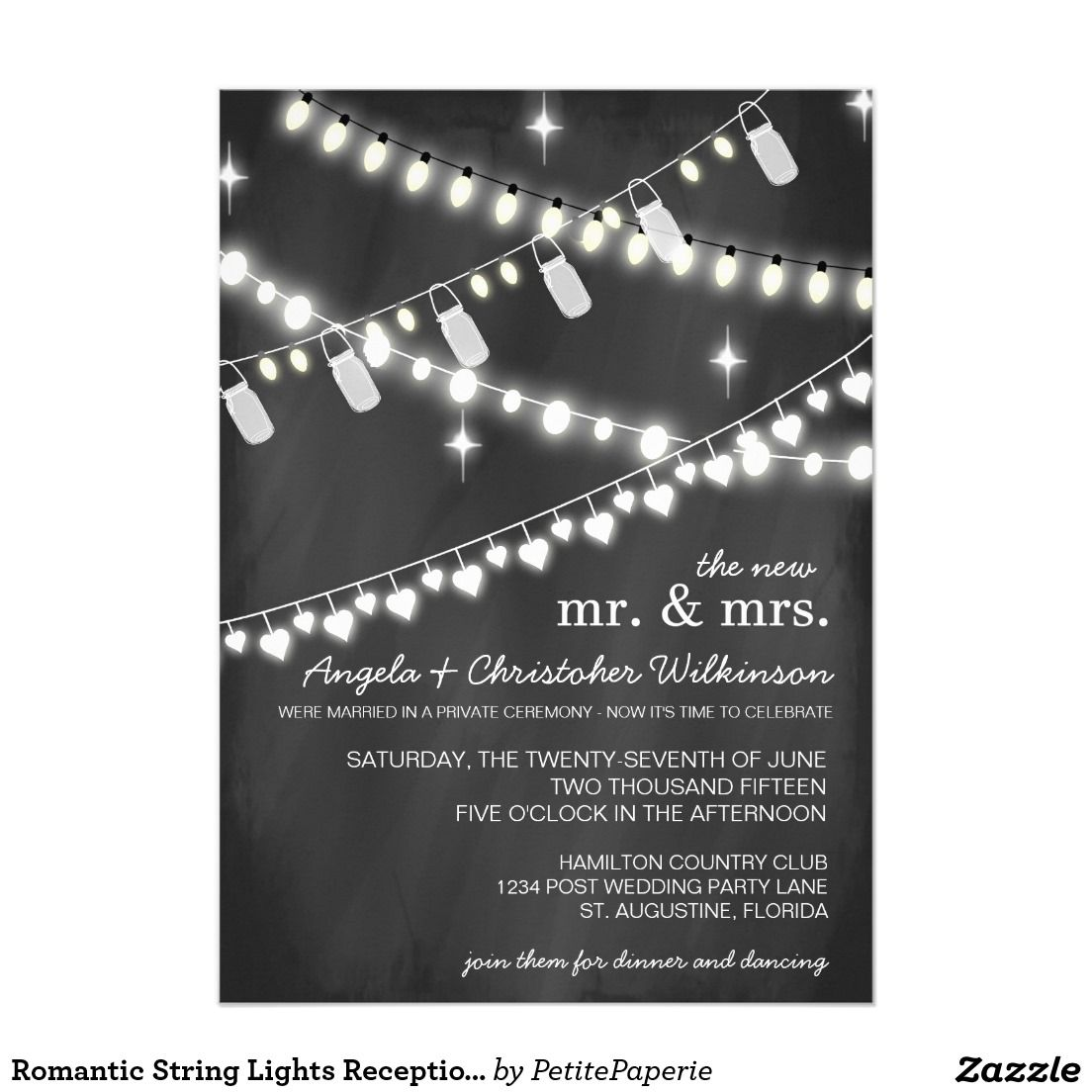 Wedding Reception Invitation Wording Funny: Romantic String Lights Reception Only Invitation