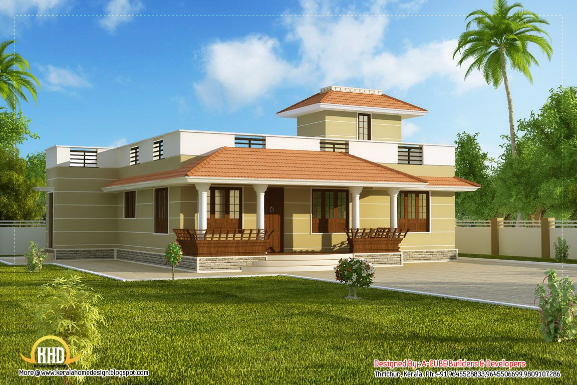 Single story kerala model house car porch sq ft sq for Simple house elevation models