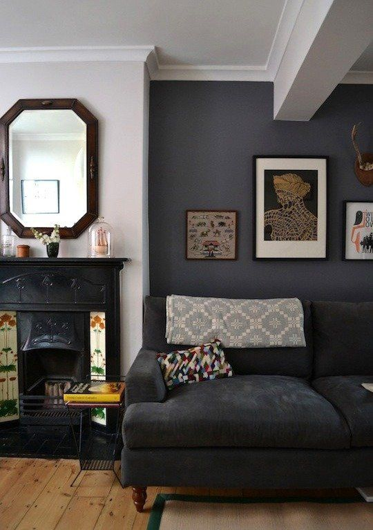 Our Favorite Living Rooms Dark Grey WallsGrey