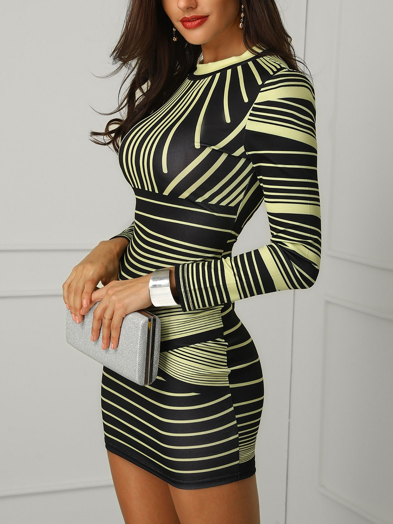 Shop Bodycon Dresses One Sleeve Cut Out Bodycon Dress. Above Knee Long  Sleeve Pullover Regular Women s Bodycon Dress. Gradient Color Striped  Bodycon Dress ... 4af5a2b21
