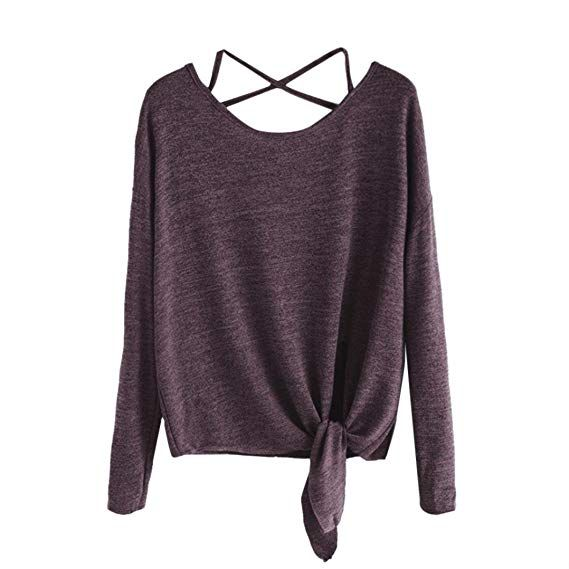 acd70876028326 VEMOW Shirts for Women Workout Juniors Blouses Loose Casual for Work  Vintage Cute Teen Girls Sexy Large Size Elegant Women's Tank Tops, Daily  Crow Tied up ...