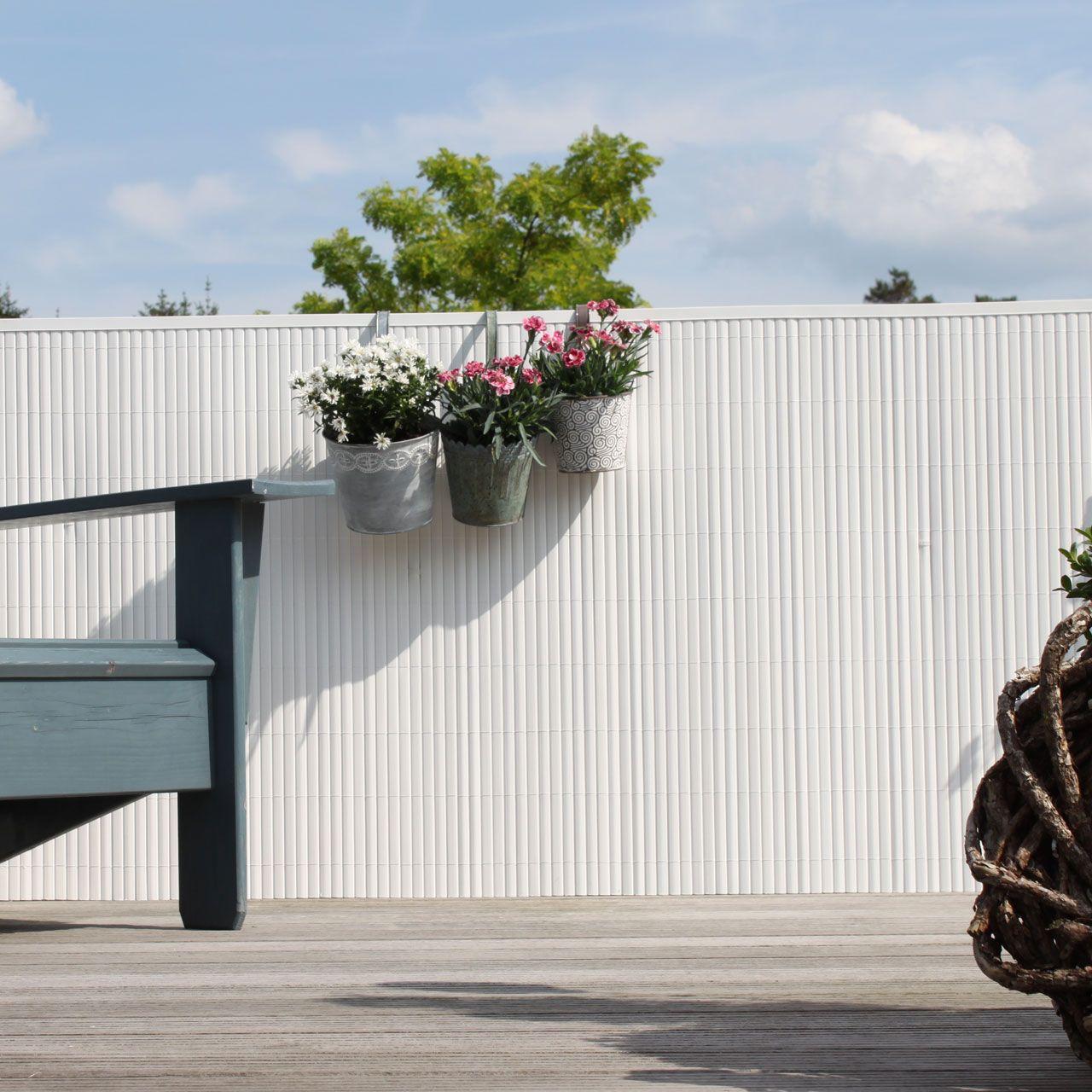 Sichtschutzmatte Kunststoff Montageset Rugen Weiss